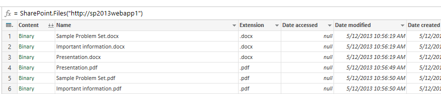 Excel Power Query – Loading SharePoint Document Library Data