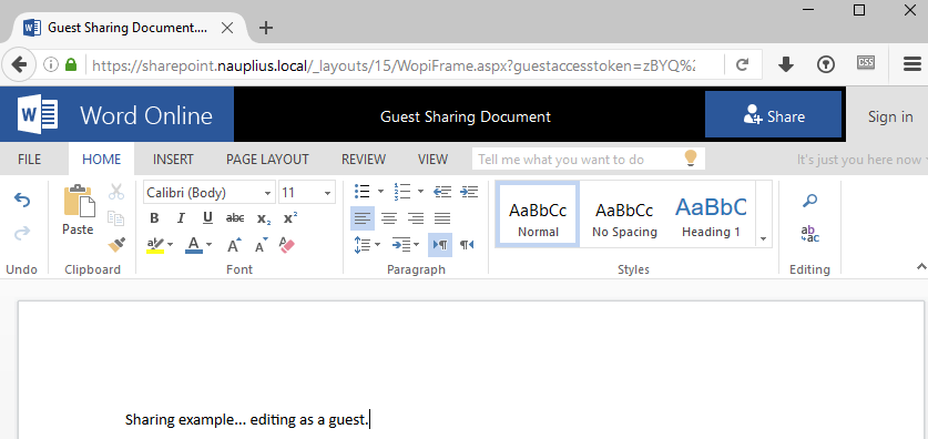 Guest Sharing Links · The SharePoint Farm